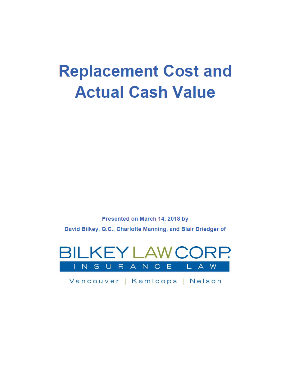 Replacement Cost and Actual Cash Value